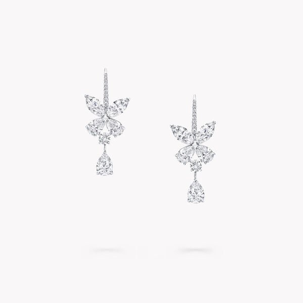 Classic Butterfly Pear Shape Diamond Drop Earrings, , hi-res