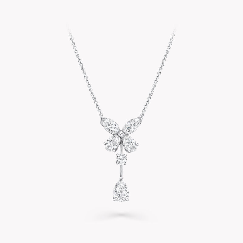 Classic Butterfly Single Motif Pear Shape Diamond Drop Pendant, , hi-res
