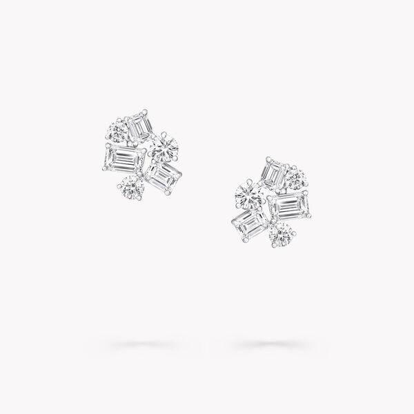 祖母綠形切割和圓形鑽石耳釘, , hi-res