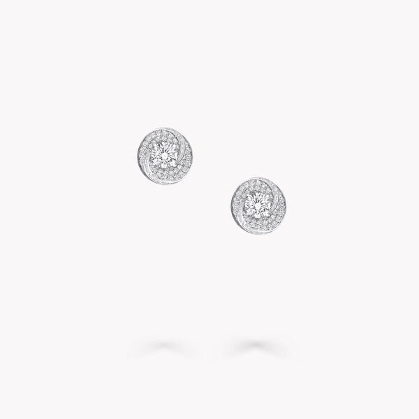 Swirl Round Diamond Stud Earrings, , hi-res