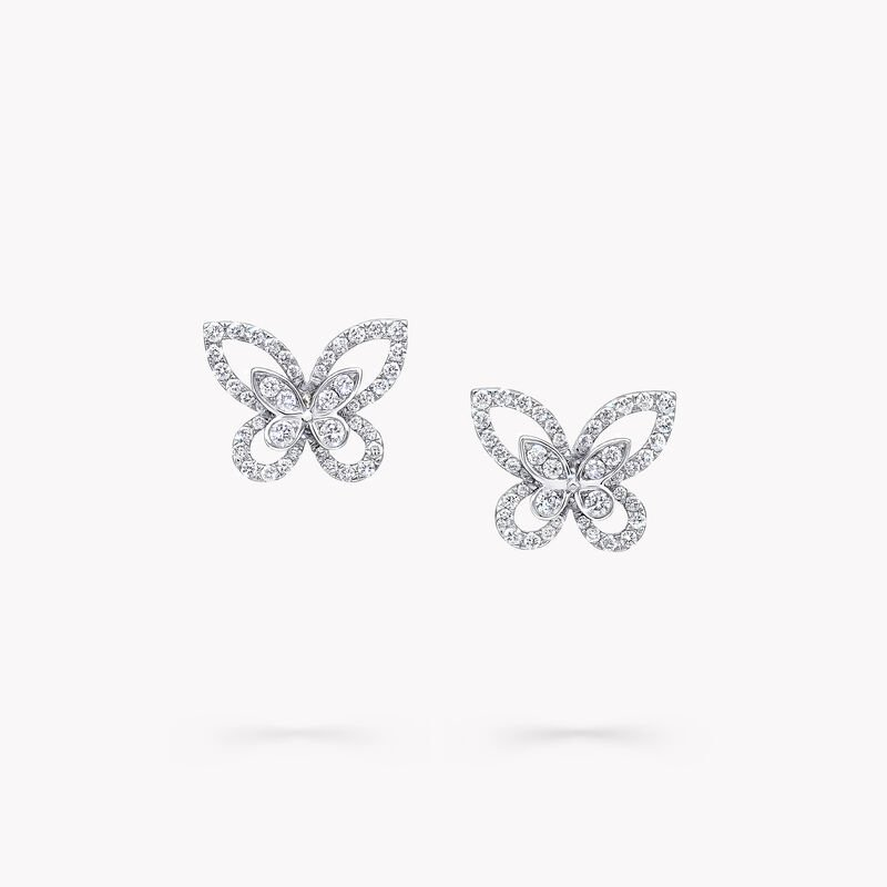 Butterfly Silhouette Diamond Mini Stud Earrings, , hi-res