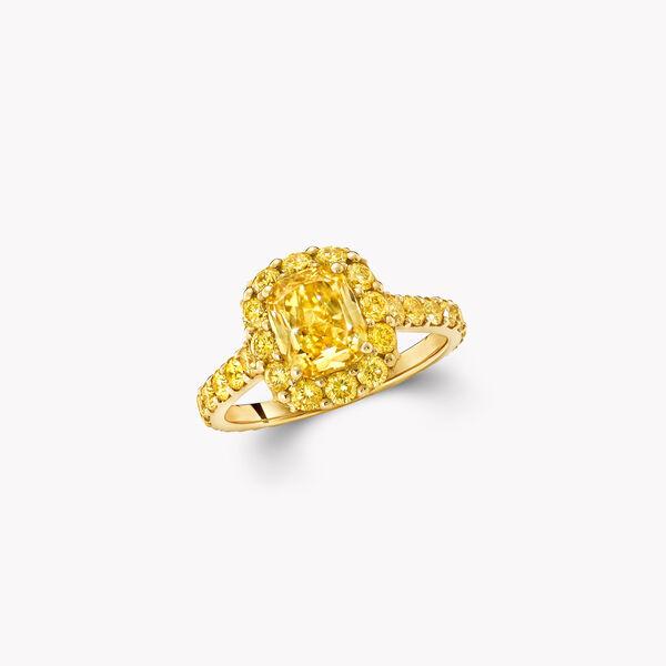 Icon Cushion Cut Yellow Diamond Engagement Ring, , hi-res