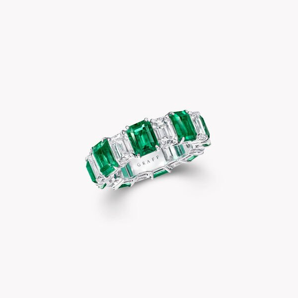 Emerald Cut Emerald and Diamond Wedding Band, , hi-res
