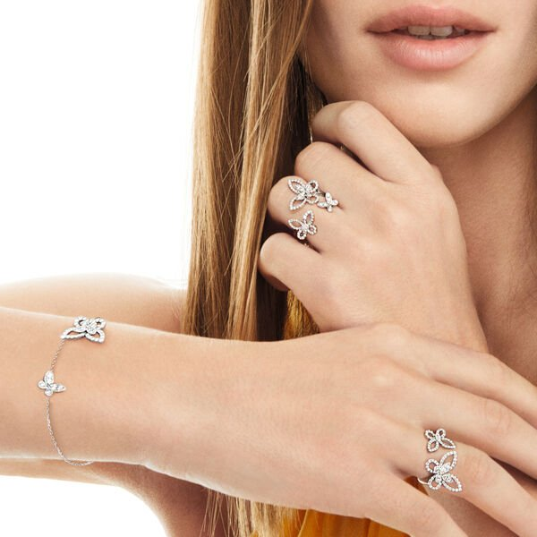 Butterfly Silhouette Diamond Mini Bracelet, , hi-res