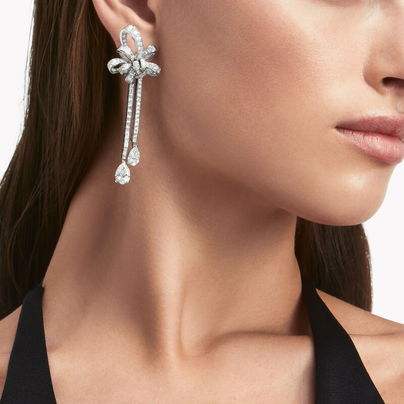 Tilda's Bow Double Diamond Drop High Jewellery Earrings, , hi-res
