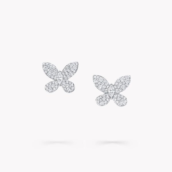 Mini clous d'oreilles en diamants Pavé Butterfly, , hi-res
