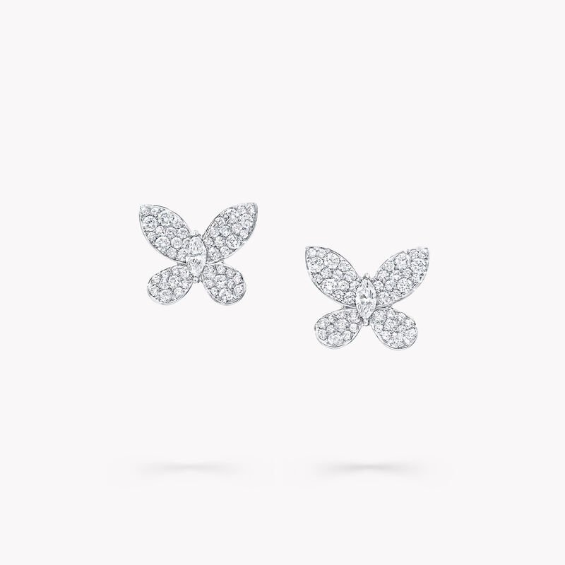 Pavé Butterfly Diamond Mini Stud Earrings, , hi-res