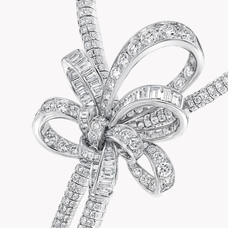 Tilda's Bow Double Diamond Drop High Jewellery Necklace, , hi-res