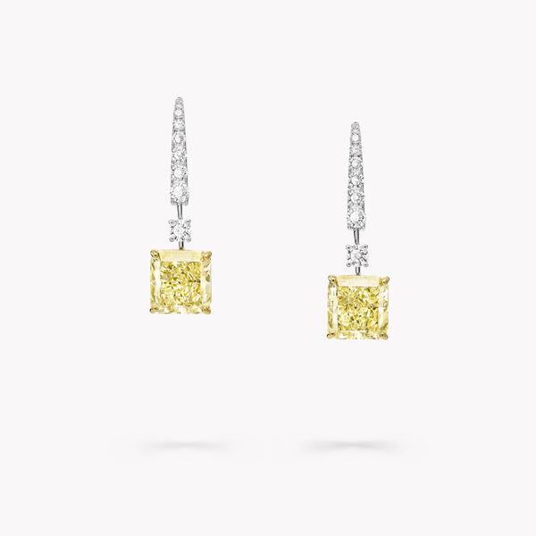 黃鑽和白鑽高級珠寶耳環, , hi-res