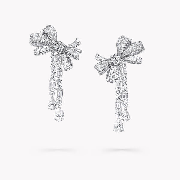 Tilda's Bow Multi Shape Diamond Drop High Jewellery Earrings, , hi-res