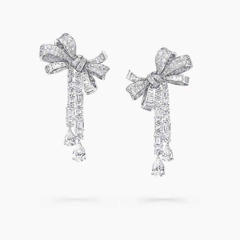 Tilda's Bow Multi Shape Diamond Drop High Jewellery Earrings, , hi-res