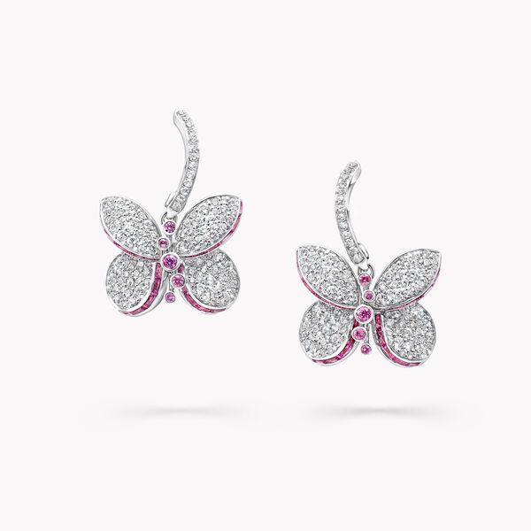 Princess Butterfly Pink and Purple Sapphire and Diamond Earrings, , hi-res