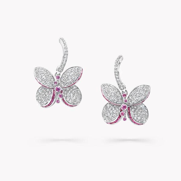 Boucles d'oreilles en saphirs roses et violets et diamants Princess Butterfly, , hi-res