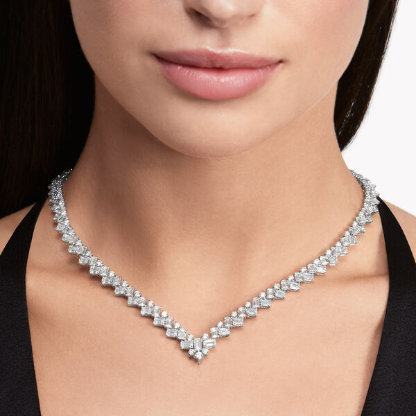 Emerald Cut and Round Diamond Necklace, , hi-res