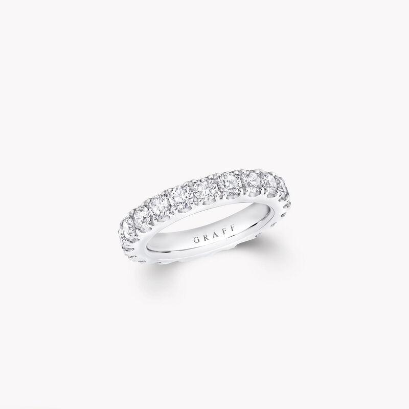 Alliance en diamants ronds sertis château, , hi-res
