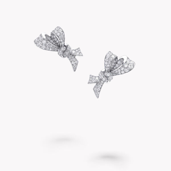 Bow Pavé Diamond Stud Earrings, , hi-res