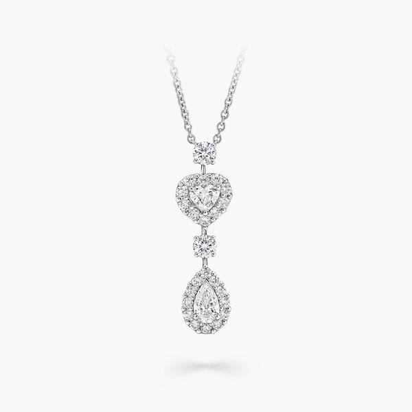 아이콘 하트와 페어 쉐이프 다이아몬드 드롭 네클리스, , hi-res