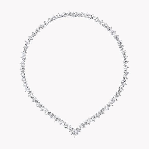 에메랄드 컷 및 라운드 다이아몬드 네클리스, , hi-res