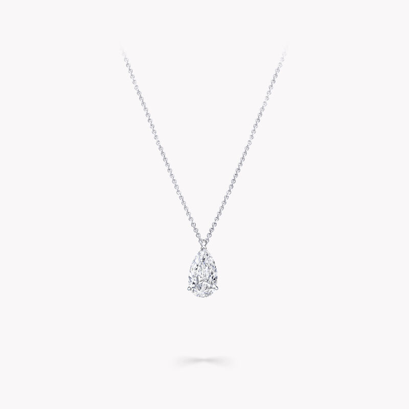 Pendentif solitaire en diamant en forme de poire, , hi-res