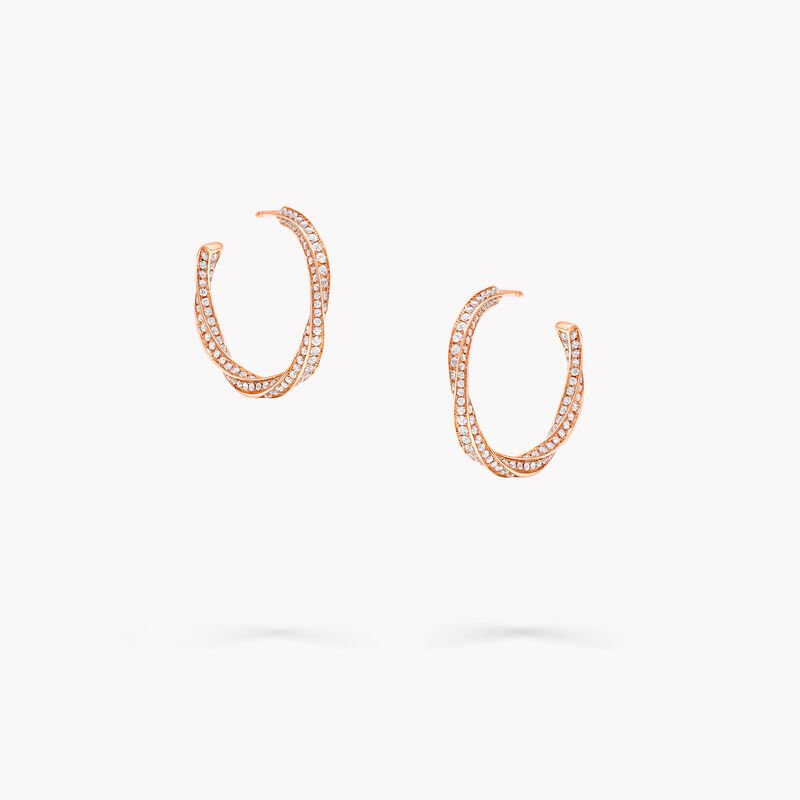 Spiral Diamond Hoop Earrings, , hi-res