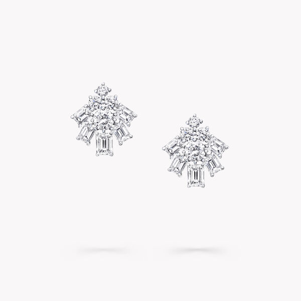 Emerald Cut and Round Diamond Earrings, , hi-res