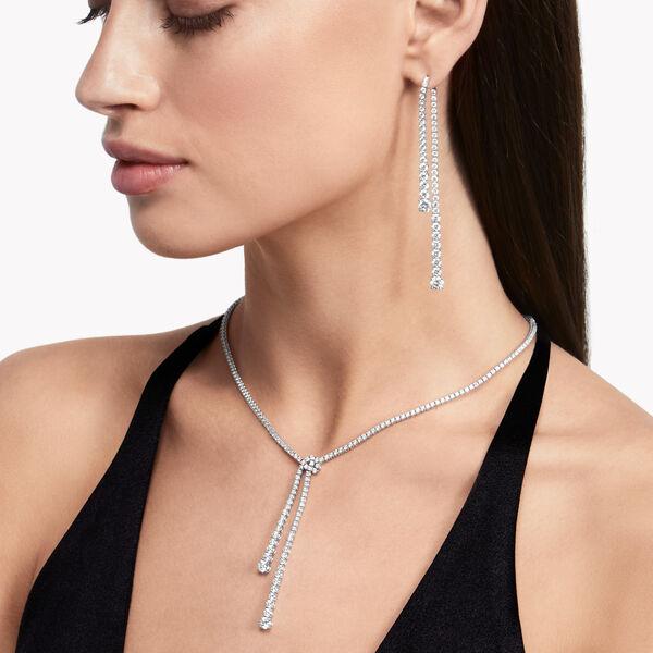 Boucles d'oreilles en diamants double brin, , hi-res