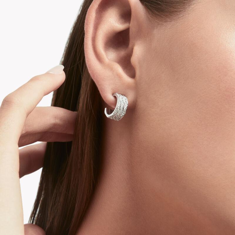 Pave Diamond Silver Hoop Earrings Brown Diamond Hoop Earrings Silver Hoop Earrings