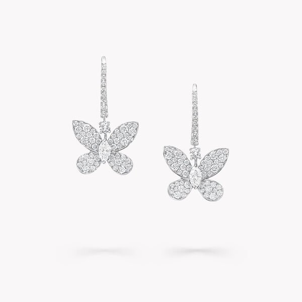 Boucles d'oreilles « goutte » en diamants Pavé Butterfly, , hi-res