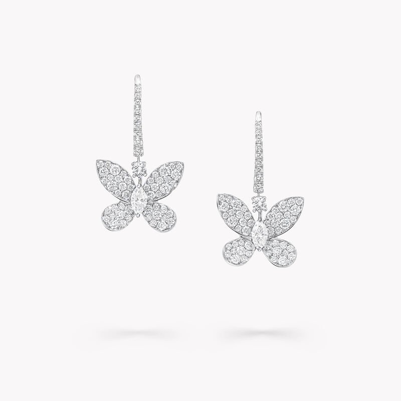 Pavé Butterfly Diamond Drop Earrings, , hi-res