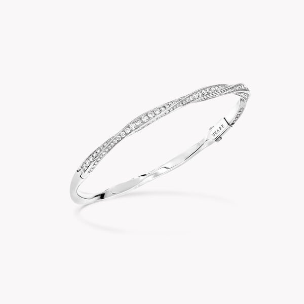 Spiral Pavé Diamond Bangle, , hi-res