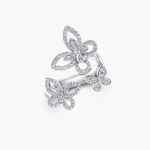 Bague en diamants Triple Butterfly Silhouette, , hi-res