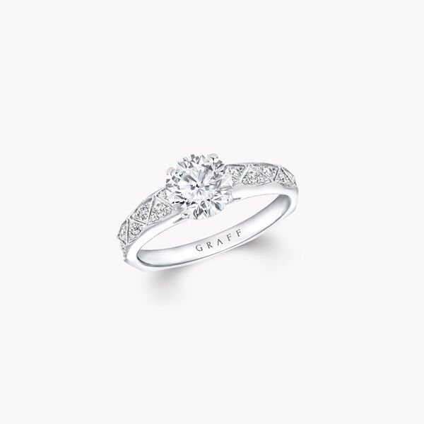 Laurence Graff Signature Round Diamond Engagement Ring, , hi-res