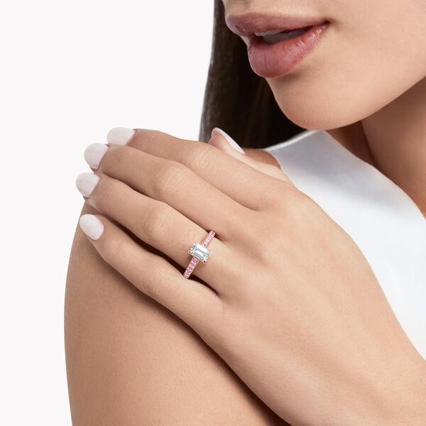 플레임 에메럴드컷 다이아몬드 인게이지먼트링, , hi-res