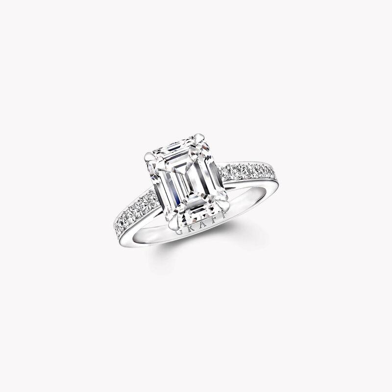 Flame Emerald Cut Diamond Engagement Ring, , hi-res