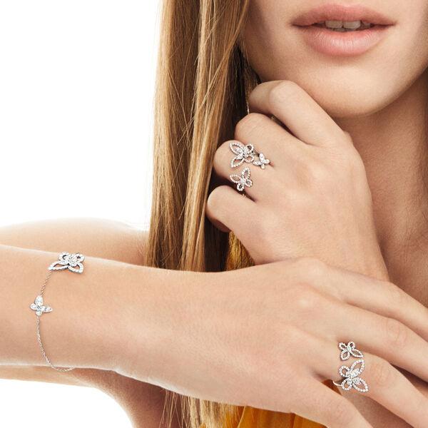 ダブル バタフライ シルエット ダイヤモンド リング, , hi-res