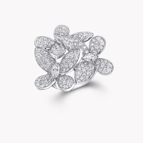 Triple Pavé Butterfly Diamond Ring, , hi-res