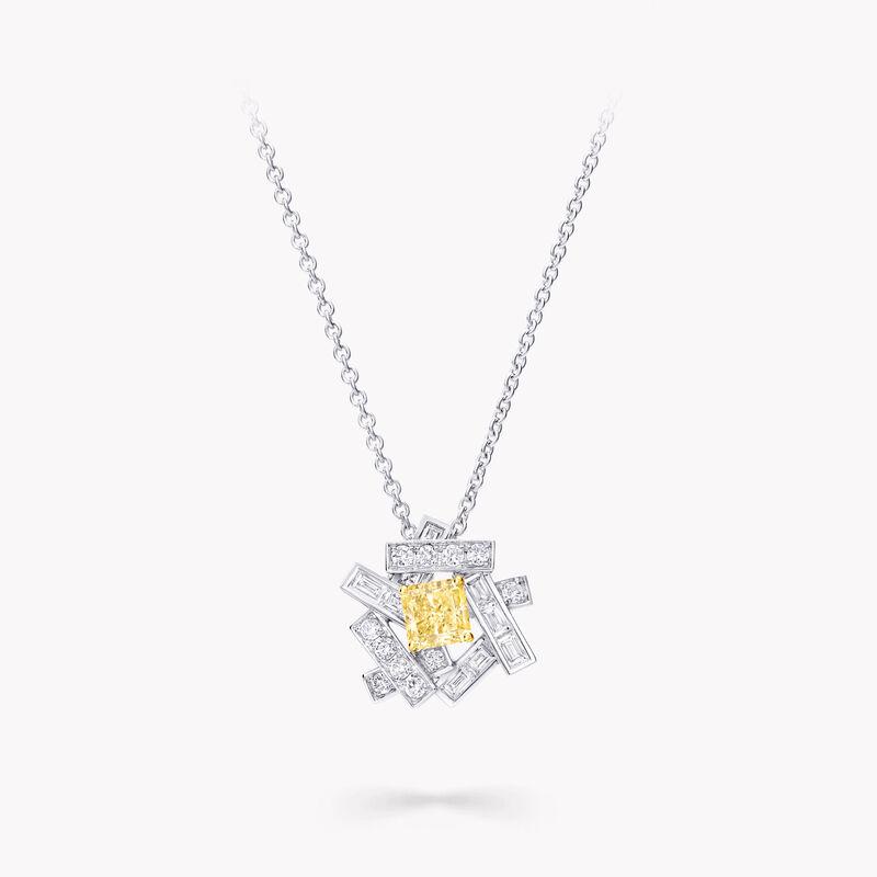Threads Yellow and White Diamond Pendant, , hi-res