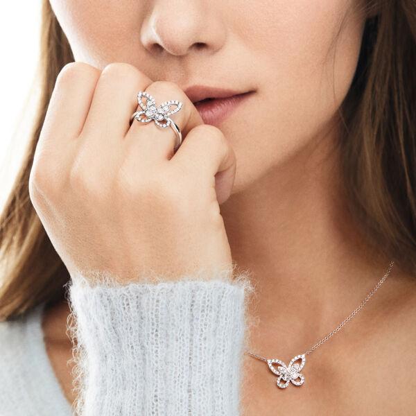 バタフライ シルエット ダイヤモンド リング, , hi-res