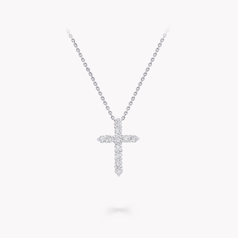 Round Diamond Cross Small Pendant, , hi-res