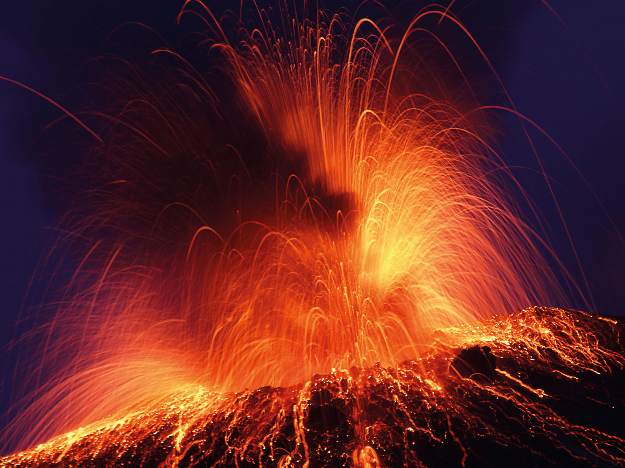 Diamonds and Volcano eruptions.