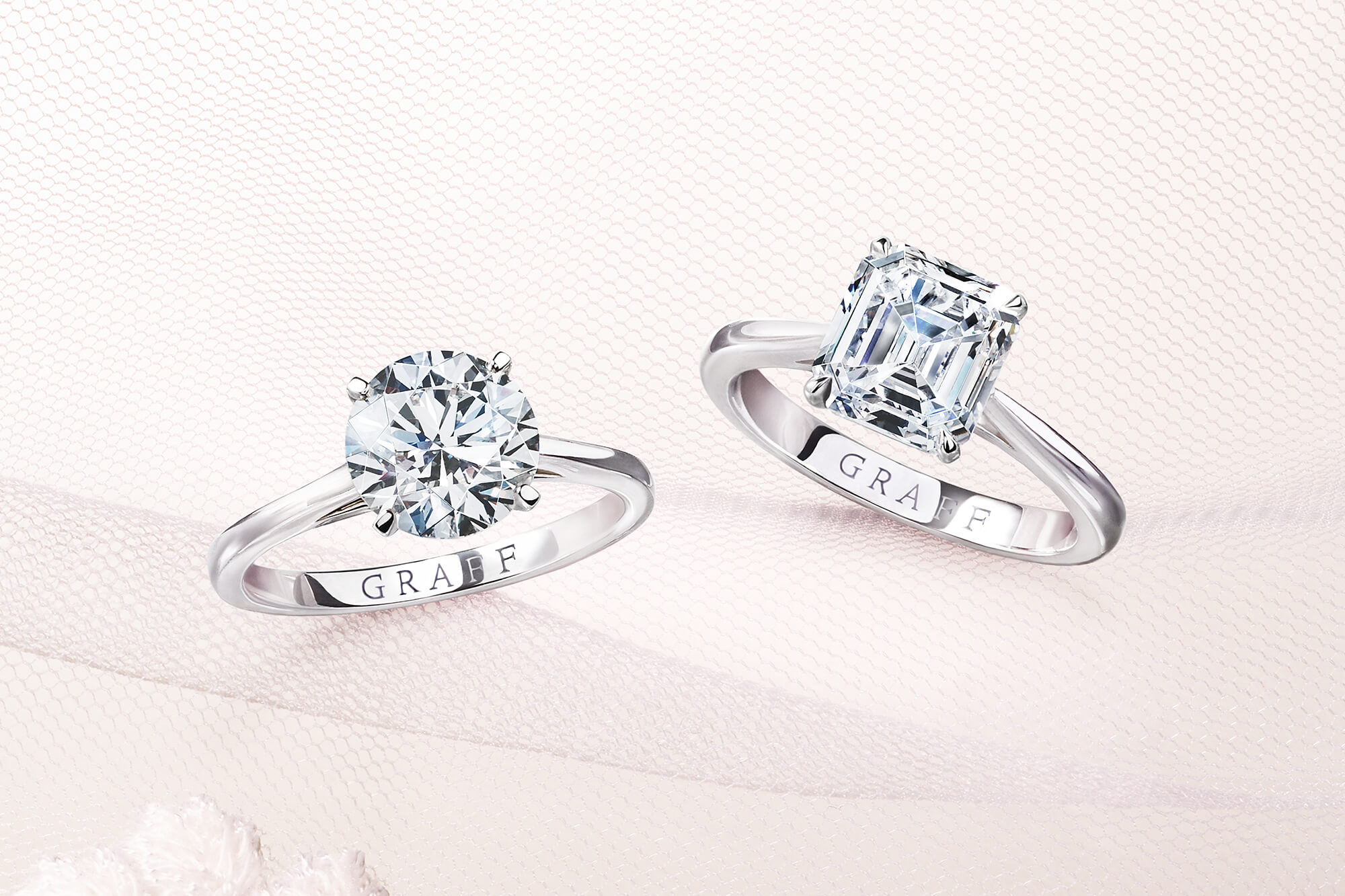 Paragon Round Diamond Engagement Ring and Paragon Emerald Cut Diamond Engagement Ring from the Graff bridal jewellery collection
