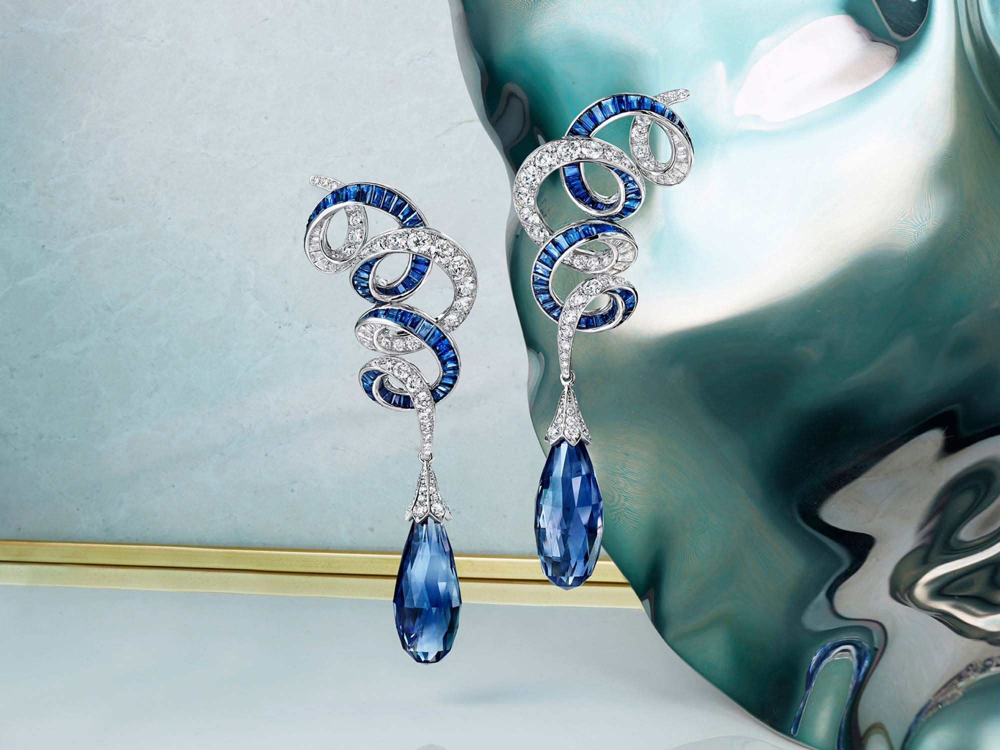 Graff Inspired by Twombly Diamond and sapphire drop earrings.