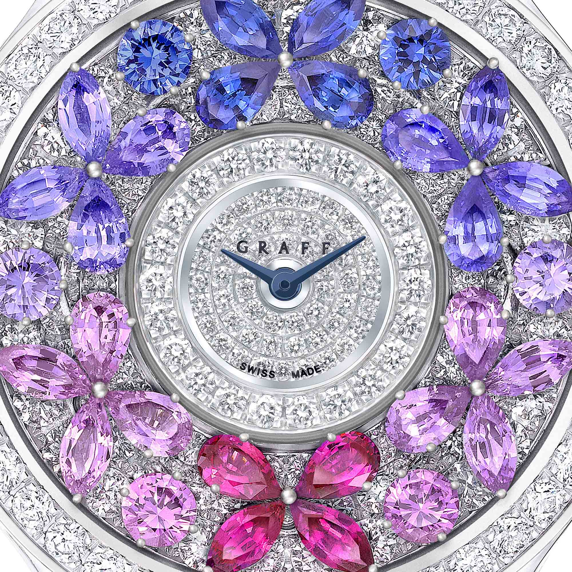 Close up of a Graff Rainbow Sapphire and diamonds butterfly watch from the Graff Butterfly Ladies' Watch collection.