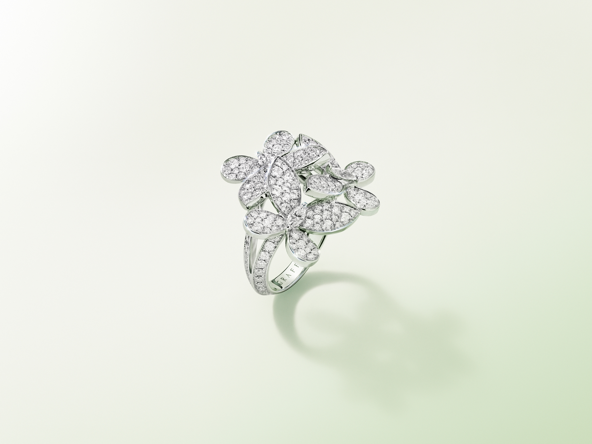 Graff Triple Pavé Butterfly Diamond Ring