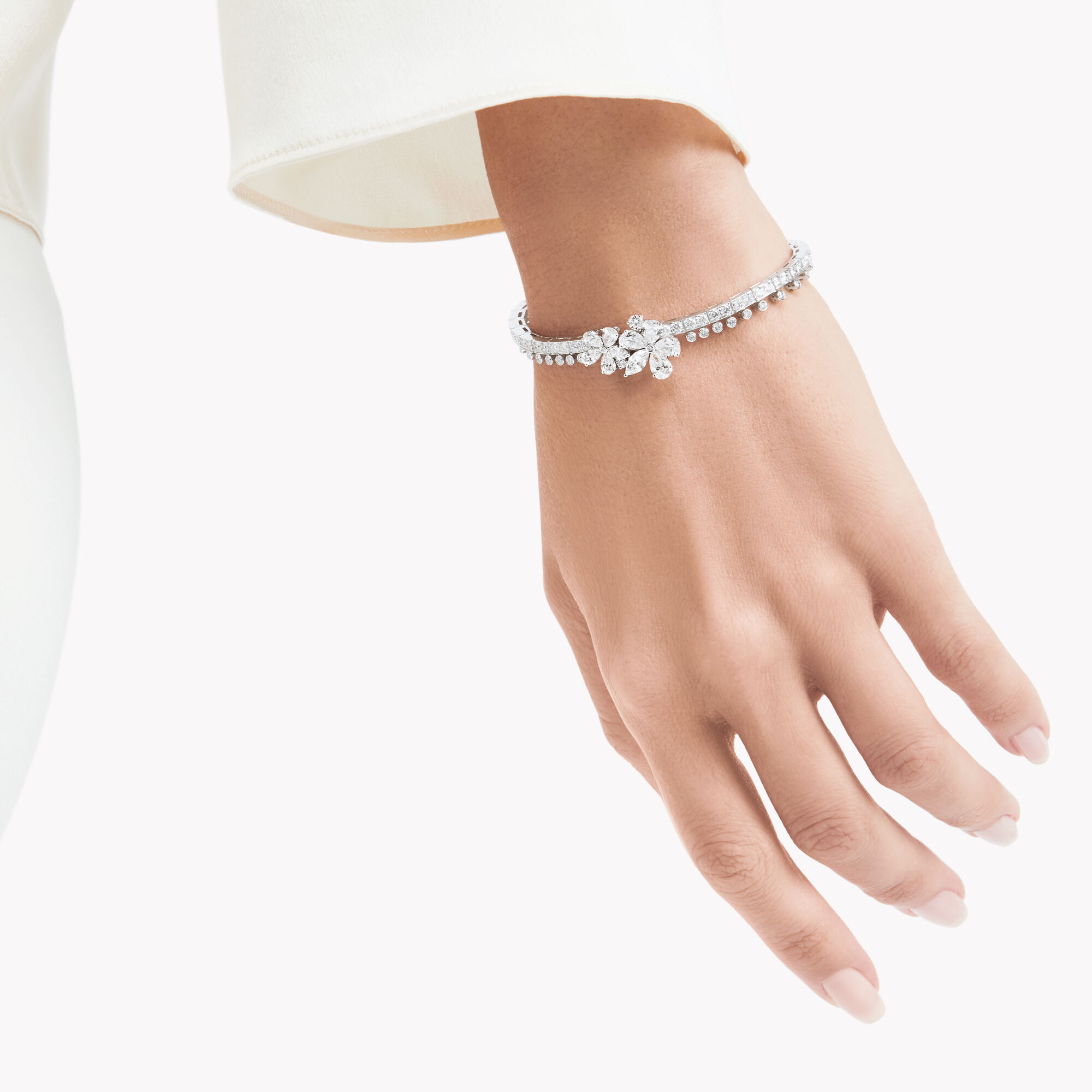 Model wears Carissa Diamond Bracelet from the Graff jewellery collection