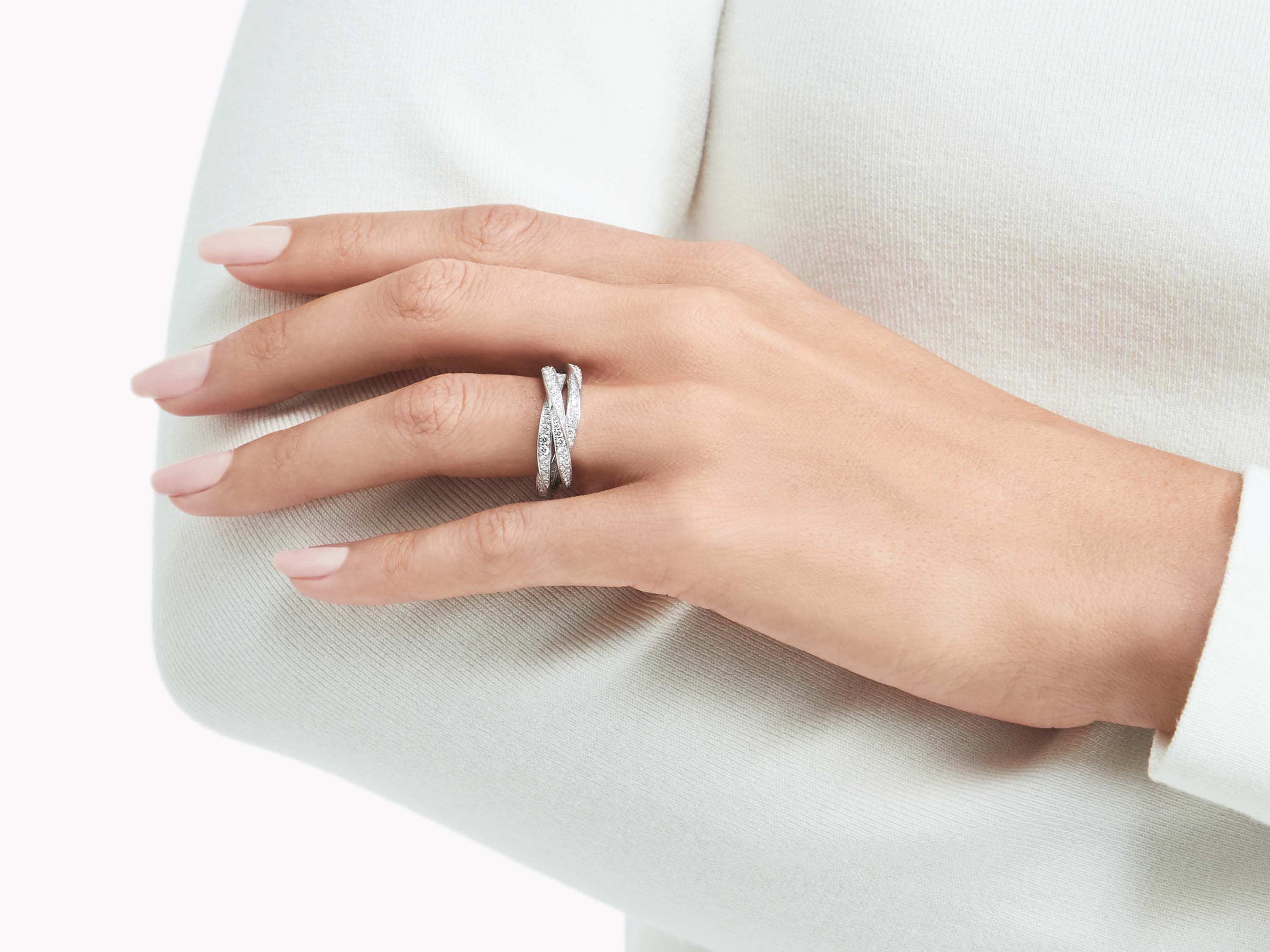Model wearing Graff Triple Spiral Pavé Diamond Ring WHITE GOLD