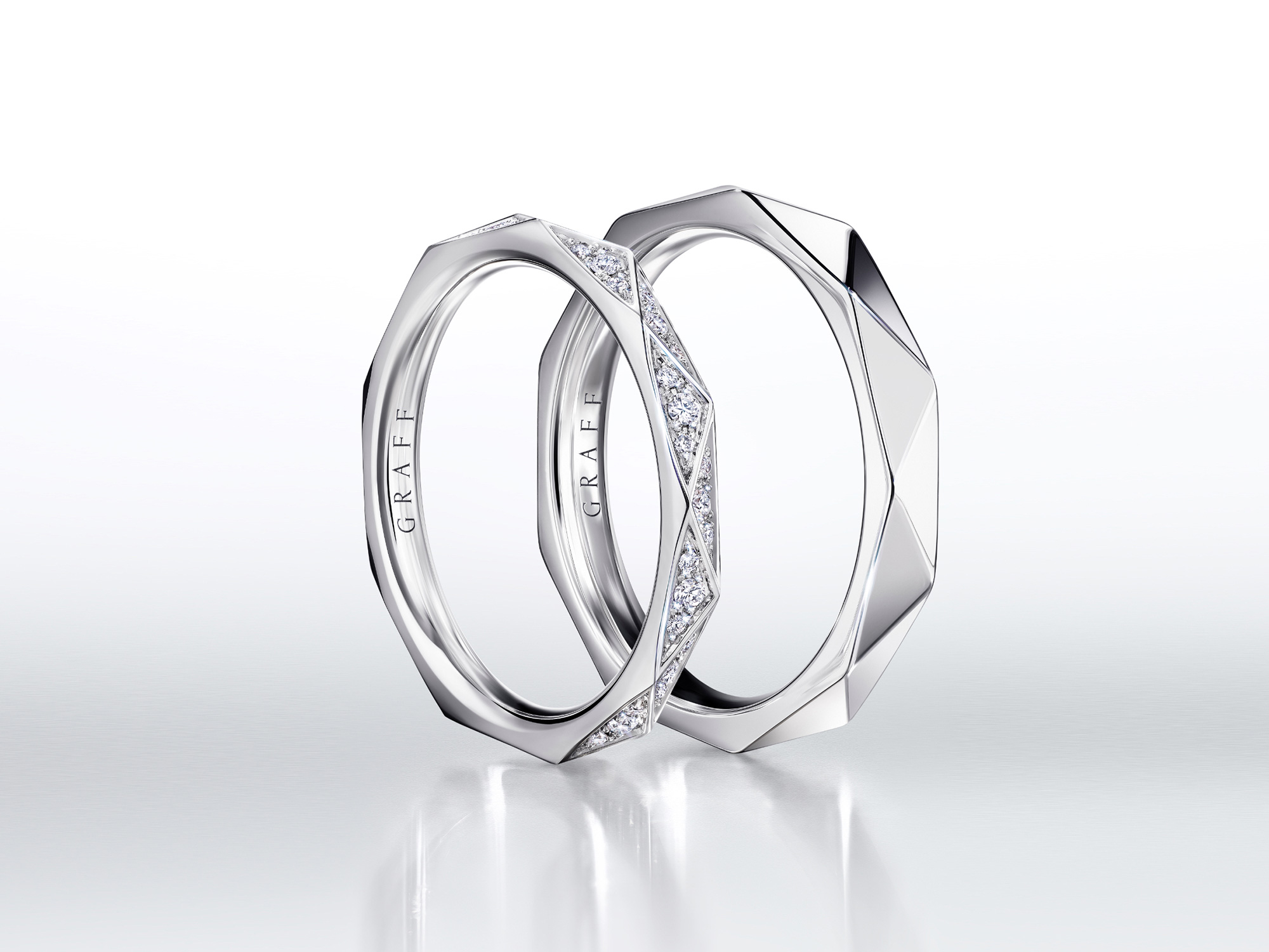 Pave diamond and plain Laurence Graff Signature bands in white gold