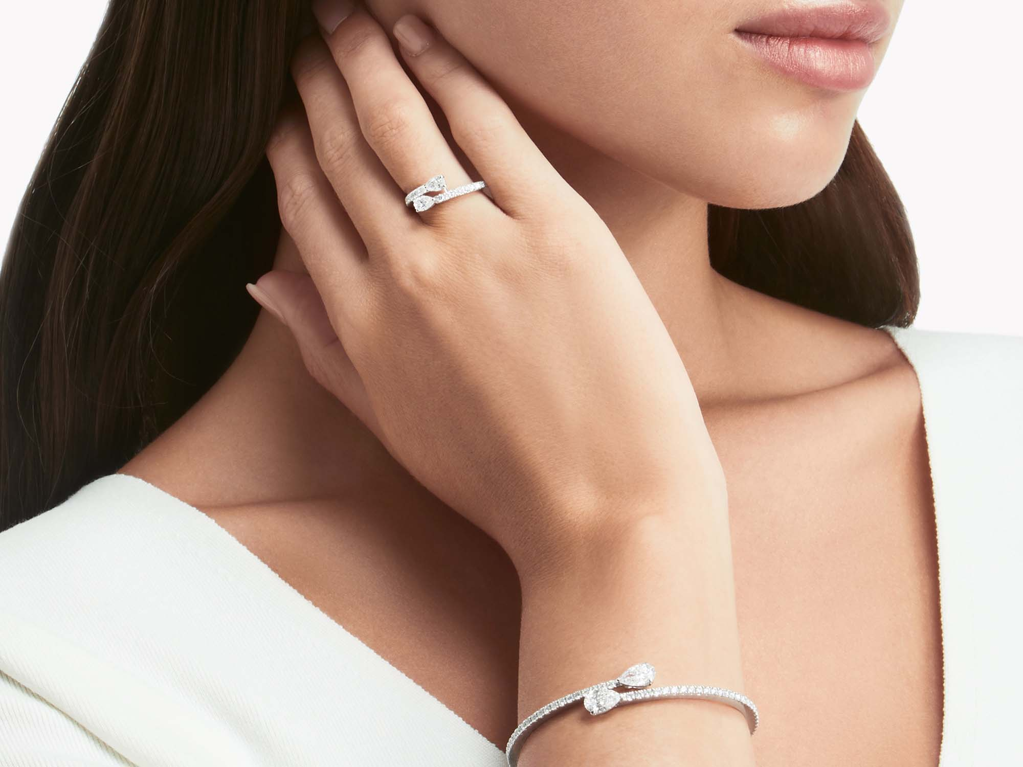 Model wearing Graff Duet bracelet and Graff Duet ring from the Graff Duet jewellery collection