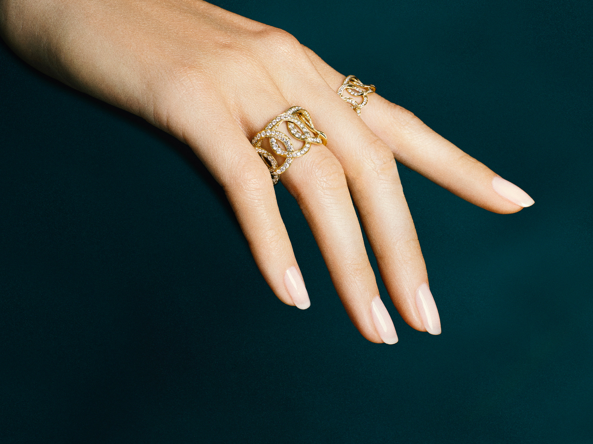 Model wears Inspired by Twombly rings from the Graff jewellery collection