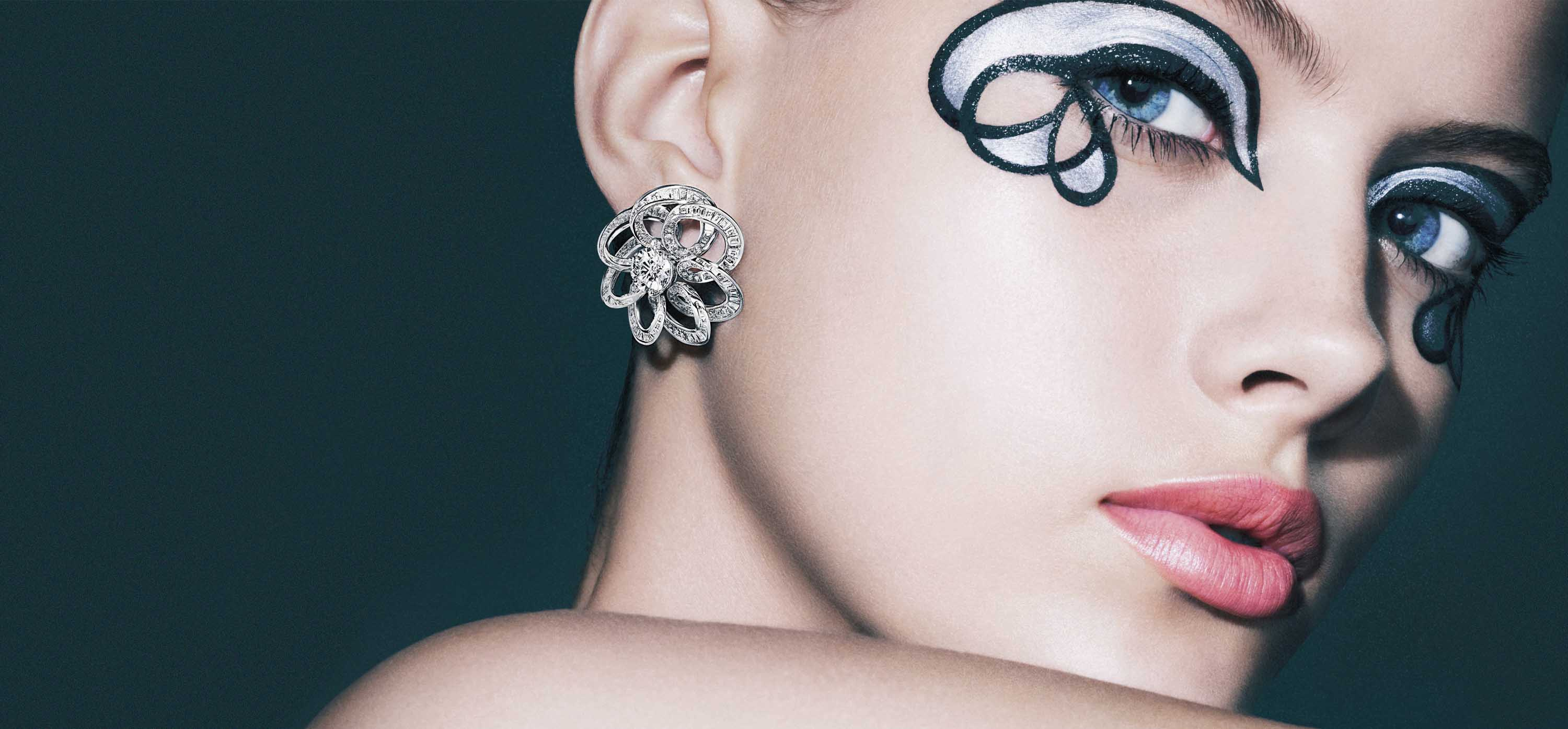 Model wearing Inspired by Twombly earrings from the Graff jewellery collection